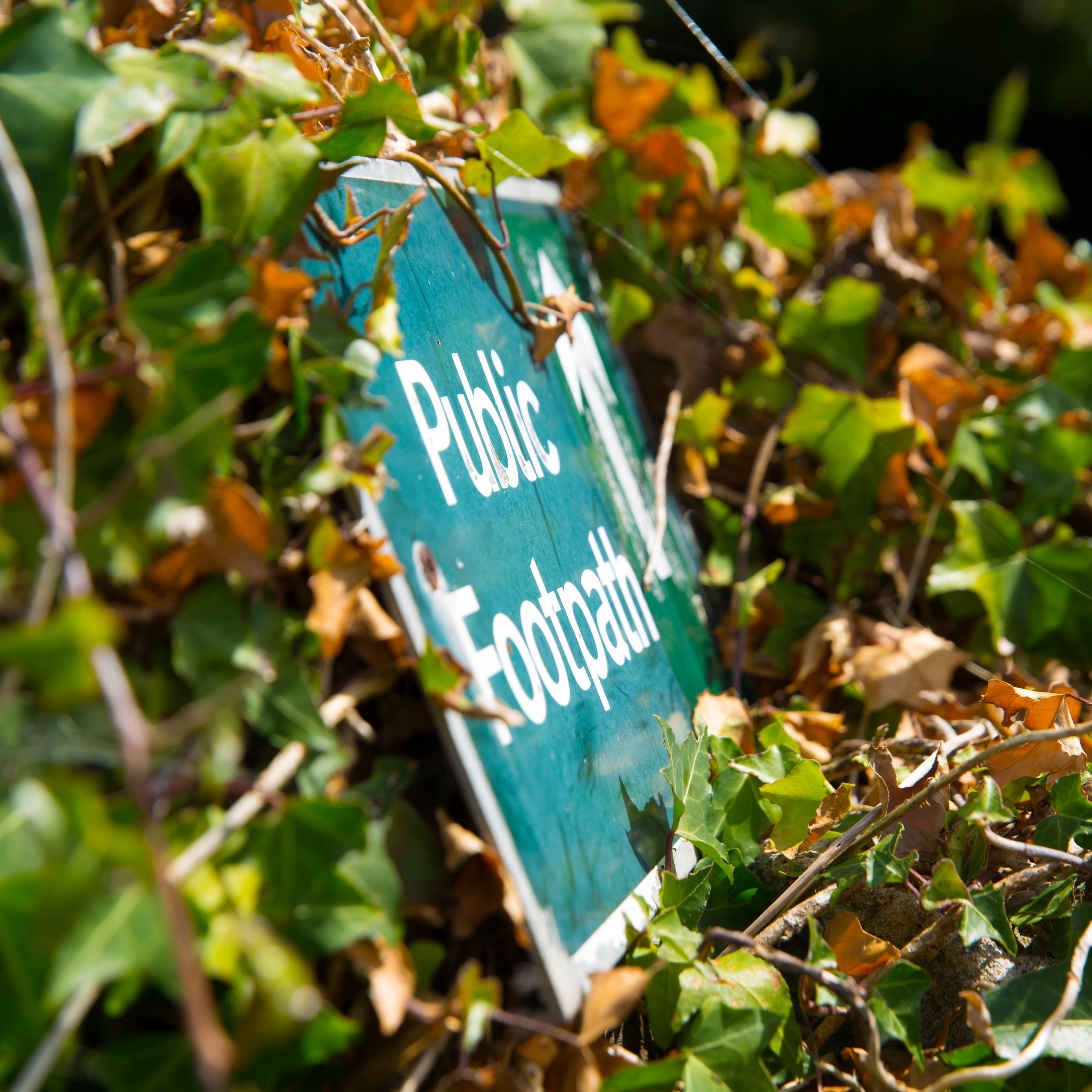 Nahaufnahme eines Wanderweg-Schilds